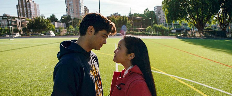 Lara Jean (Lana Condor) and Peter Kavinsky (Noah Centineo) talk about their dwindling relationship in the center of the lacrosse field.