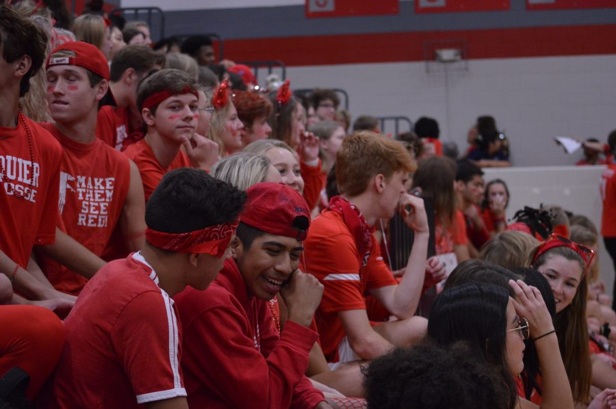 Senior's can't hide that Falcon Pride as they await the pep rally to begin.