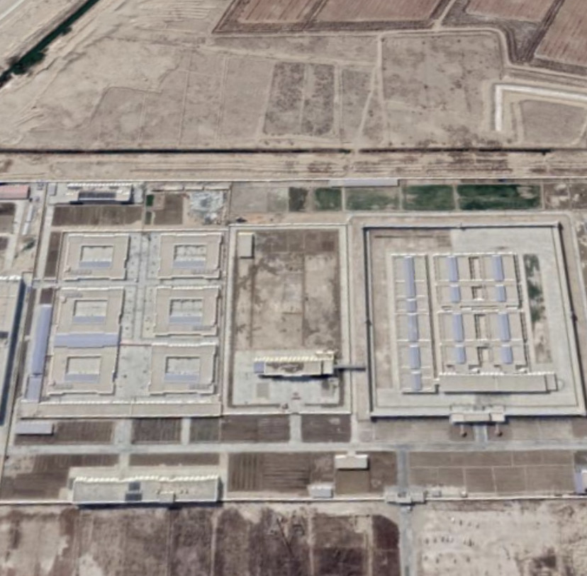 Reported right is internment camp and left is detention center in Kumukusa'erxiang, Makit County, Kashgar Prefecture, Xinjiang, China