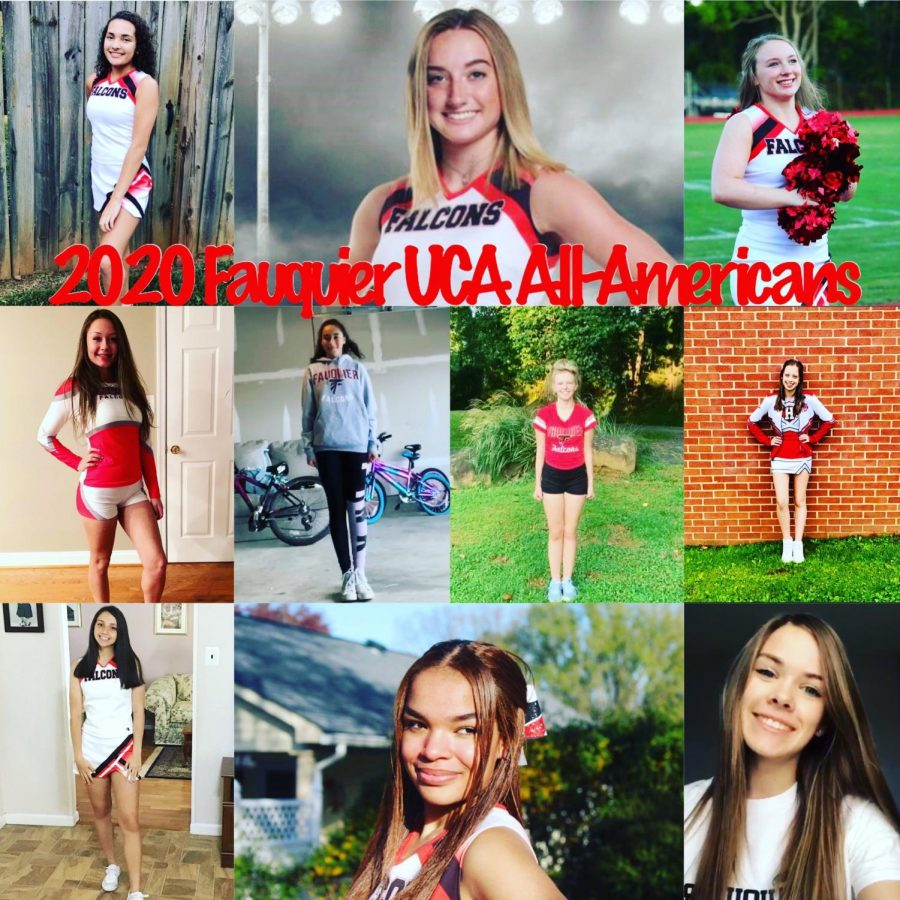 FHS UCA All-American Team Qualifiers: (top row; left to right) Seniors Nicole Ball, Eliza Haight and Allyson Good. (middle row; left to right) Junior Ellie Bunch, Freshmen Ashley Marin-Barrera, Emmelea Czolba and Junior Izzy Kendrick. (last row; left to right) Sophomore Zara Atcheson, Senior Jada Legget and Sophomore Regan Gastley.
