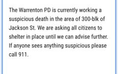 Warrentown PD released this announcement to residents in a 300 block radius of Jackson Street.