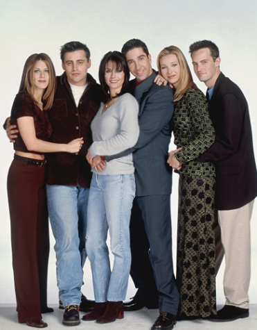 "The cast of television show ""Friends"" wearing typical 90"
