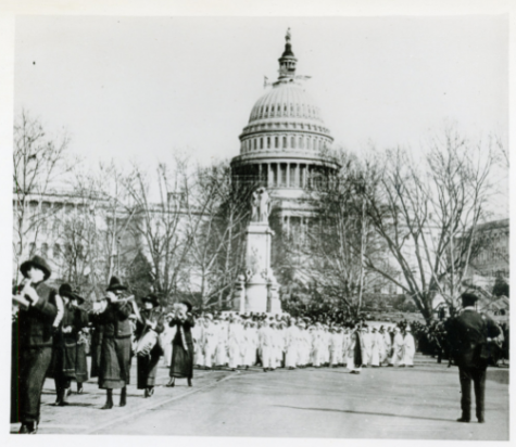 Women marching for the right to vote on Pennsylvania Avenue NW, around March 1913.