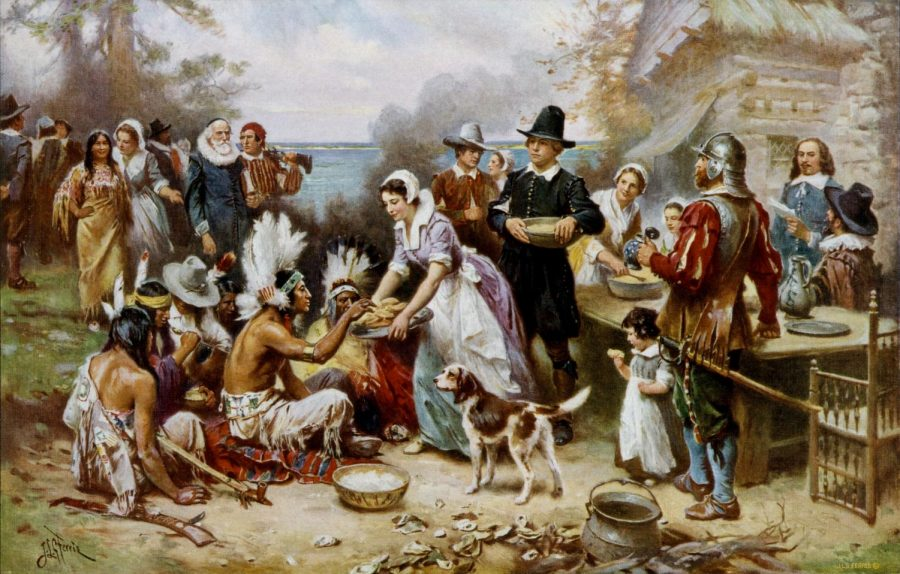 Historians+suspect+the+first+Thanksgiving+took+place+to+make+an+alliance+between+the+Wampanoag+and+Pilgrims.