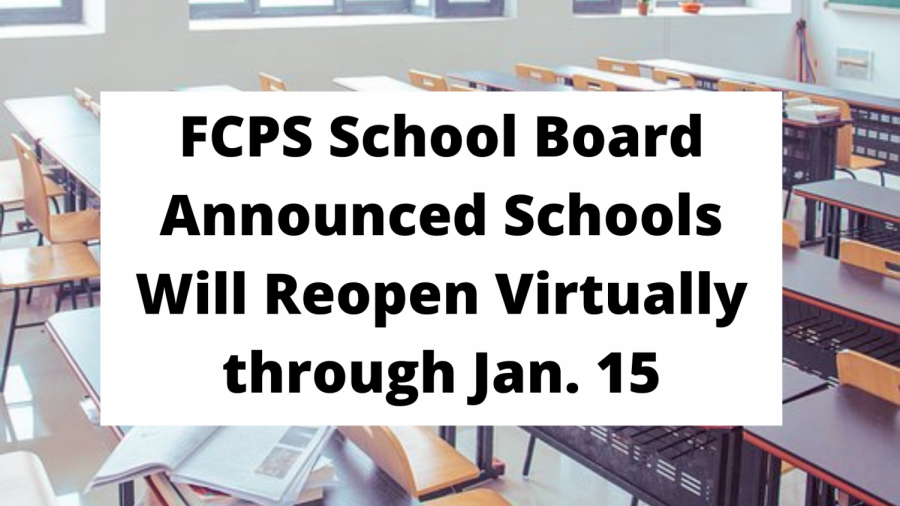 FCPS School Board Announced Schools Will Reopen Virtually through Jan. 15