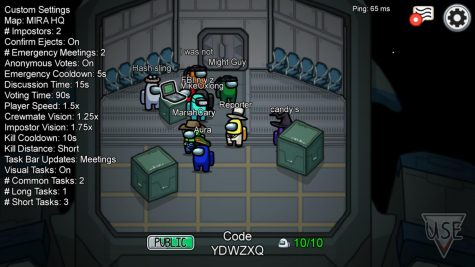 "Playing a game of ""Among Us"", players start the game in the main lobby of the game."