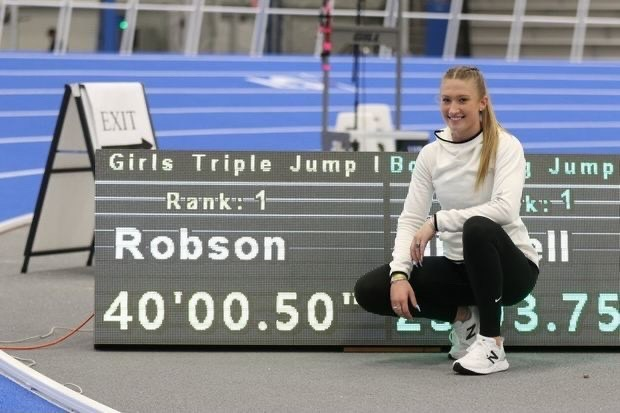 Stephanie Robson sets a personal record for herself of 40'00.50'' in the triple jump category of the VA Showcase.