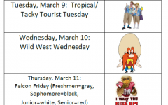 The 2021 daily theme schedule to celebrate Spirit Week for Homecoming.