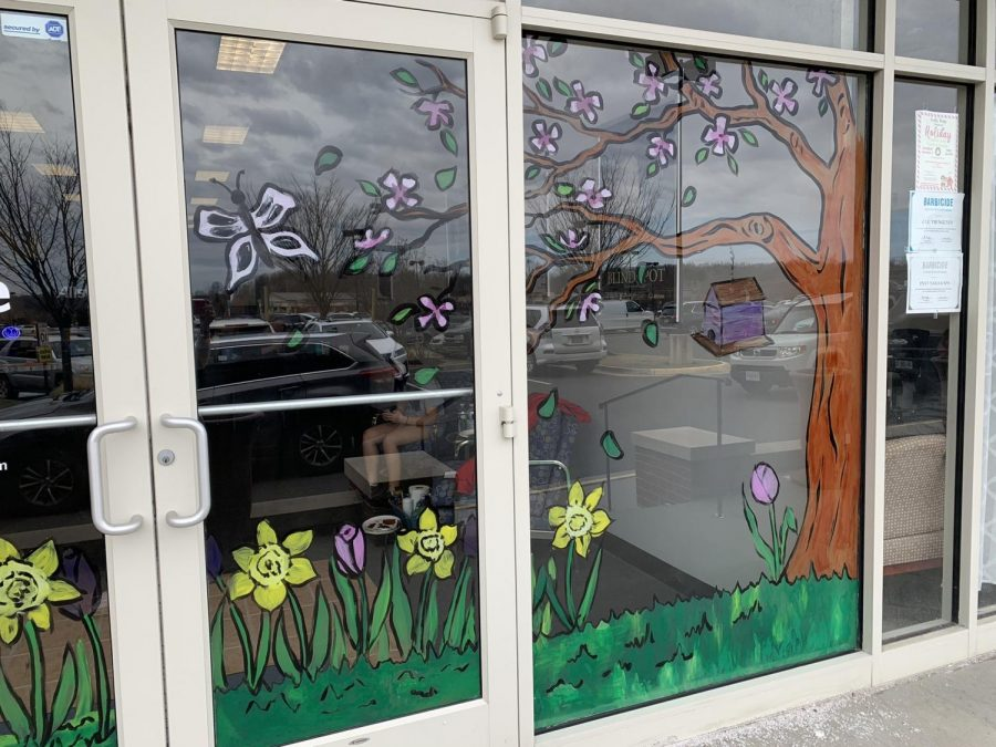 FHS students involved in the National Art Honor Society painted window displays for some businesses in Fauquier to show that