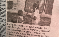 Lined on every page of Ms.Gibson's bible are photos of her loved ones. This newspaper cut out shows her family member, Marian Yates. Gibson fondly remembers the ice cream truck and the local general store on Frytown Road.