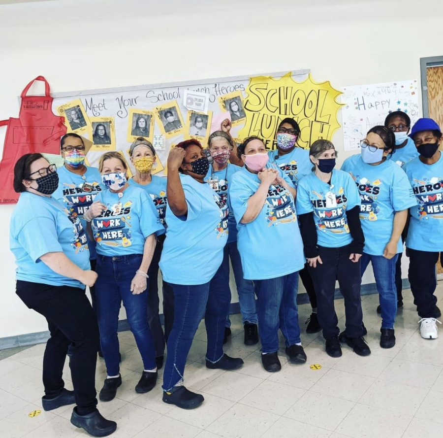 The FHS Falcon Cafe staff pose for a group picture on School Lunch Hero Day.