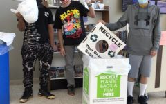 Students from Mr. Funk's class bringing the plastic film/bags to collect for the recycling project.