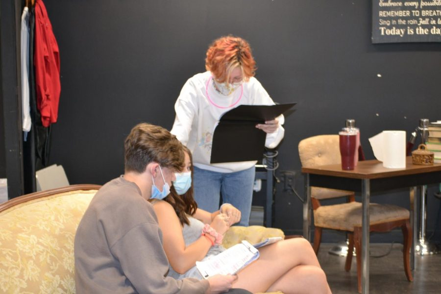 Rehearsing for the upcoming production of The Boys Next Door, students stay after school to prepare.