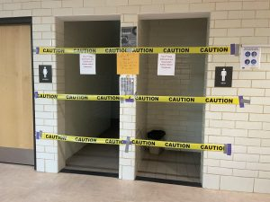 The bathrooms on the second, third and fourth floors in the main building are shut off to students.